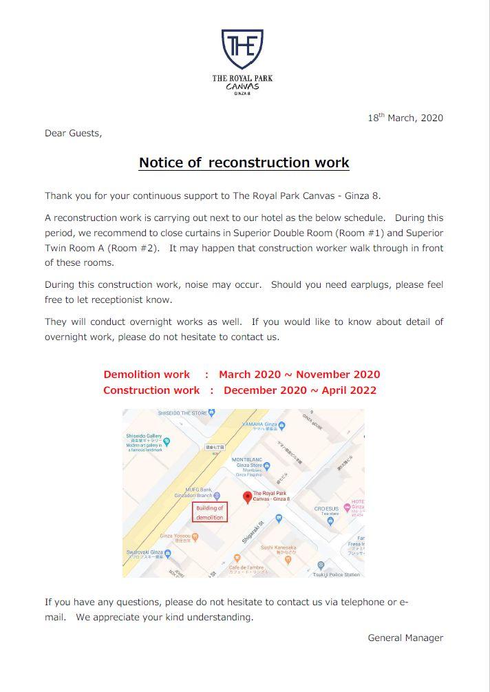 Notice of demolition work